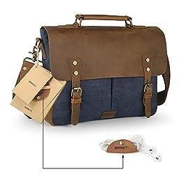 SMRITI Vintage Real Leather Canvas Messenger Bag 14-inch Laptop Briefcase - Blue