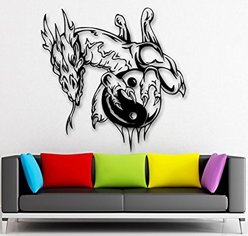 GGWW Wall Sticker Vinyl Decal Yin Yang Dragon Fantasy For Kids Room Talisman (Ig1939)