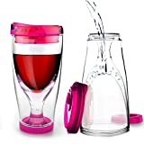 Asobu Chill Vino 2-Go Insulated Wine Tumbler, 10-Ounce, Pink