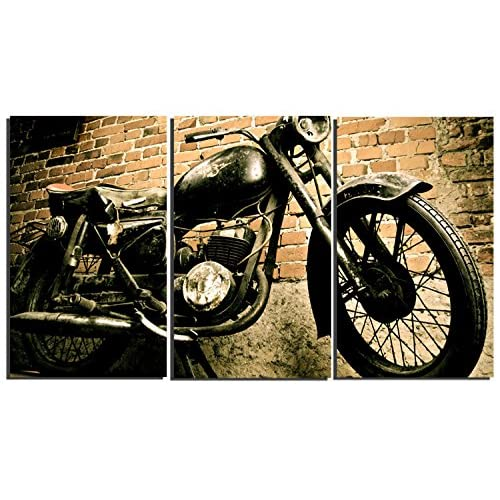 3 Pieces Vintage Motorcycle Wall Art Canvas Picture Print for Decoration, Stretched and Ready to Hang