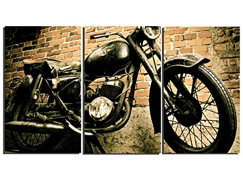 3 Pieces Vintage Motorcycle Wall Art Canvas Picture Print for Decoration, Stretched and Ready to Hang 0