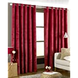 LUXURIOUS RED HEAVYWEIGHT VELVET 90X90 LINED RING TOP EYELET CURTAINS