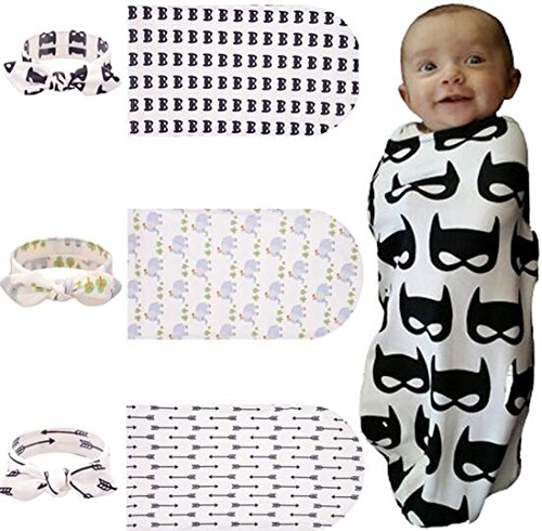 Lucky staryuan 3 set Baby Boy Girl Toddler Headband Printing Wrapped Towel Set(pattern 1)