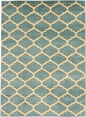 "Royal Collection Trellis Ocean Blue and Tan Area Rug Rugs 5'3""x7'0"" Contemporary Moroccan Trellis Design Area Rug Ryl1326"