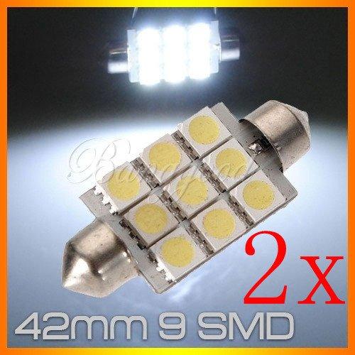 2Xc5W 9 Led Smd 5050 42Mm Ampoule Plaque Navette Xenon Blanc Plafonnier 12V Neuf