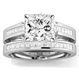 1.19 Carat t.w. 14K White Gold Princess Channel Set Princess Cut Diamond Engagement Ring G-H SI1-SI2