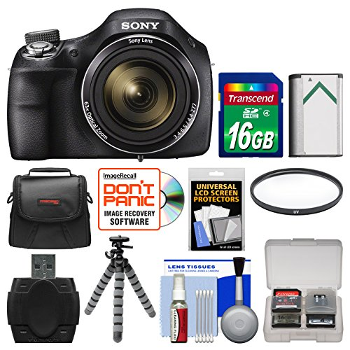 Sony Cyber-Shot DSC-H400 Digital Camera with 16GB Card + Case + Battery + Flex Tripod + Filter + Kit (Sony H300 Point And Shoot Camera compare prices)