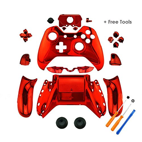YTTL® Red Chrome Controller Housing Shell for Microsoft XBOX ONE Wireless Controller with 3.5 mm headsets jack (Xbox One Bullet Buttons Gold compare prices)