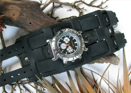 """THE """"MIDNIGHT"""" 3"""" WIDE AGED BLACK LEATHER WATCHBAND / WRISTBAND"""