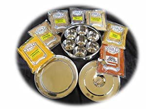Stainless Steel Masala Dabba with (7) Authentic Indian Spices (Traditional Indian Spice Box)