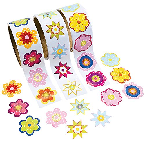 Fun Express 3 Roll Flower Stickers (300 Piece), 1.5""