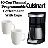 Cuisinart DCC-755BK 10-Cup Thermal Programmable Coffeemaker Plus 2 Coffee C ....