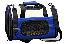 THE eBun Soft Sided Pet Carrier Airline Approved - Collapsible Air Travel Pet Carrier With 100% Risk Free Purchase Full Replacement Guarantee - Soft Kennel Premium Fleece Bed Sheets Provide Excellent Comfort to Your Cat and Dog - Side Pockets For Carry Pe