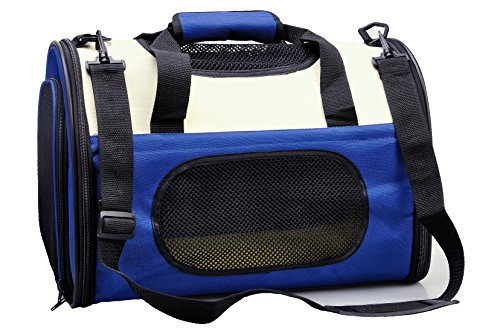 THE eBun Soft Sided Pet Carrier Airline Approved – Collapsible Air Travel Pet Carrier With 100% Risk Free Purchase Full Replacement Guarantee – Soft Kennel Premium Fleece Bed Sheets Provide Excellent Comfort to Your Cat and Dog – Side Pockets For Carry Pet Travel Accessories – Color American Blue – Size Small