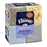 "KLEENEX Ultra Soft Facial Tissue, 3-Ply, White, 8.2""X 8.4"" , 75/Box, 4 Box/Pack - Packaging May Vary(Assorted color and style boxes)"