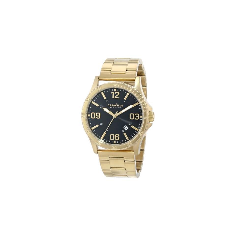 Caravelle New York Mens 44B104 Analog Display Japanese Quartz Yellow Gold Watch