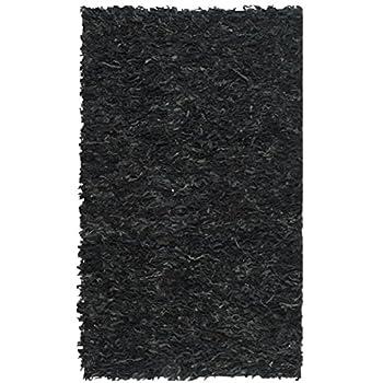 Safavieh Leather Shag Collection LSG511A Handmade Black Leather Area Rug (4 x 6)