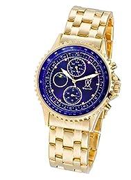 Konigswerk Mens Gold Tone Bracelet Watch Multifunction Blue Dial Crystal Markers AQ101091G