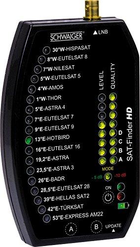 Schwaiger GmbH SF9002011 Digitaler Sat-Finder HD zur Ausrichtung wie vom Profi - 18 Satelliten vorprogrammiert schwarz
