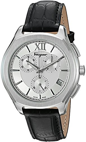 Salvatore-Ferragamo-Mens-LUNGARNO-CHRONO-Quartz-Stainless-Steel-and-Leather-Casual-Watch-ColorBlack-Model-FLF950015