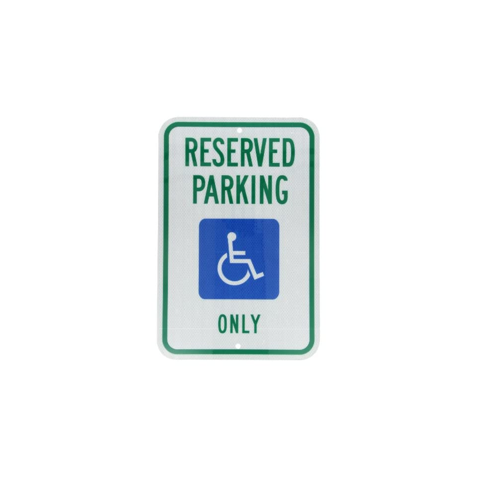 Accuform Signs FRA199RA Engineer Grade Reflective Aluminum Handicapped Parking Sign (Michigan), Legend RESERVED PARKING ONLY with Graphic, 18 Length x 12 Width x 0.080 Thickness, Green/Blue on White