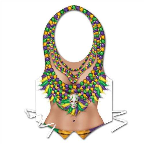 Plastic Mardi Gras Vest Party Accessory (1 count) - 1