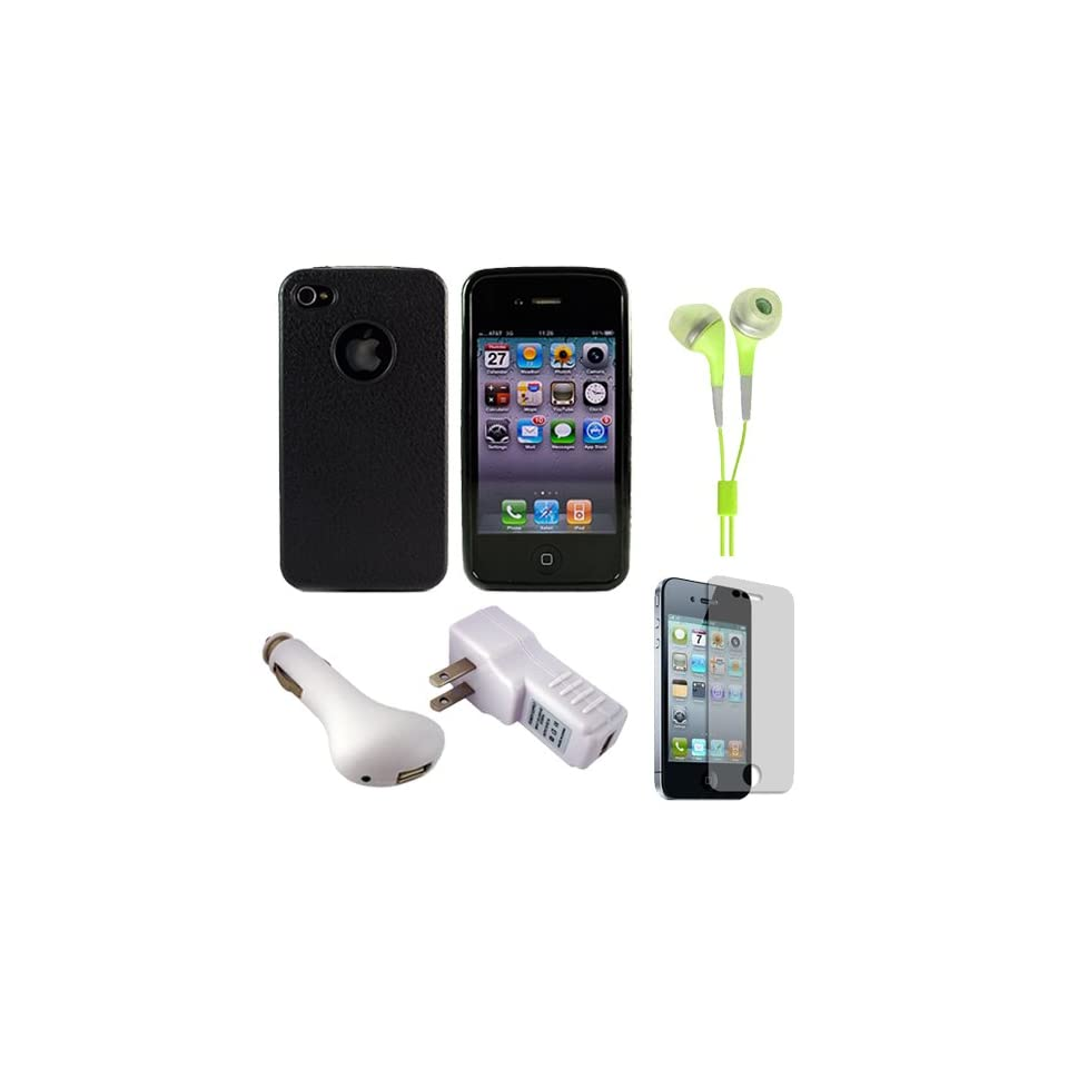 Solid Jet Black Premium Rubberized Protective Durable Silicone Skin Cover Case for Verizon Wireless Newest Apple iPhone 4S Latest Generation and iPhone 4 (4th Generation) + Package includes a 2 Piece Clear Screen Protector (For Front and Back of iPhone 4)