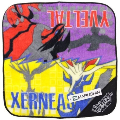 Japan Official Pokemon XY - Xerneas and Yveltal Battle of the Century Cute Handmade Hand Towel Square Shape Soft Colorful Cover Soothing Cleaning Pure Natural Cotton Legendary Creature Wonderful Gift