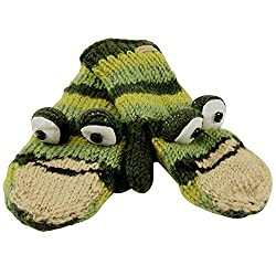 Old Glory - Unisex-child Ferny The Frog Kids Knit Mittens Green