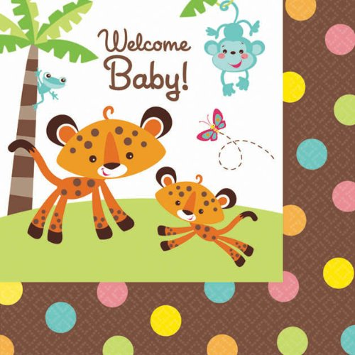 Fisher Price Beverage Napkins (16) Baby Shower Monkey Jungle Party Supplies front-1024711