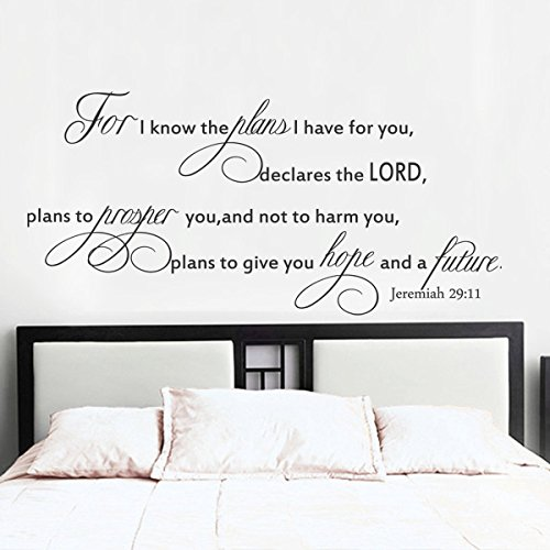 Inspirational Wall Decal Bible Wall Quote Religious Wall Sticker Words Wall Mural Graphic Home Wall Decor - Plan to give you Hope and a Future Jeremiah 29:11 Black by WallsUp