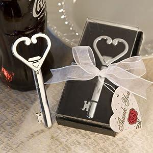 heart accented key bottle opener favor set of 50 wedding part. Black Bedroom Furniture Sets. Home Design Ideas