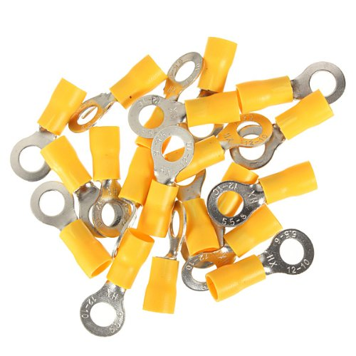 20Pcs Yellow Ring Insulated Wire Connector Electrical Crimp Terminal 12-10Awg M4/M5/M6 For Choice
