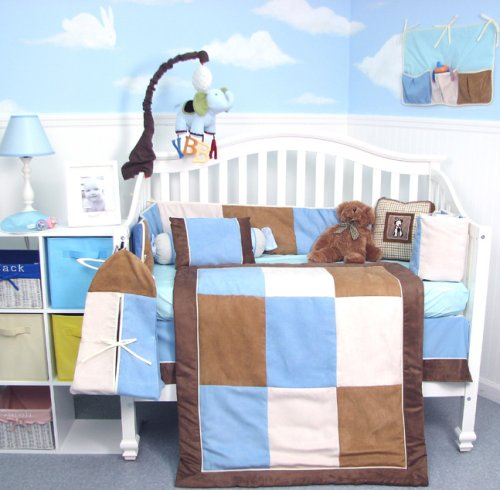 Soho Blue & Brown Suede Baby Crib Nursery Bedding Set 13 Pcs Included Diaper Bag With Changing Pad & Bottle Case front-777143