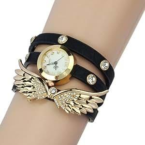 2014 Susenstore Vintage Leather Strap Angel Wings Rivet Bracelet Watches Wristwatch (Black)