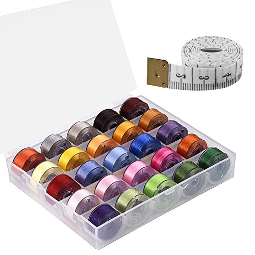Paxcoo 25 Pcs Bobbins and Sewing Thread with Case and Soft Measuring Tape for Brother Singer Babylock Janome Kenmore (Assorted Colors) (Brothers Walking Foot Cs6000i compare prices)
