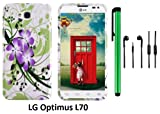 LG OPTIMUS L70 (MS323) Premium Pretty Design Protector Hard Cover Case + 3.5MM Stereo Earphones + 1 of New Assorted Color Metal Stylus Touch Screen Pen (Splash-ink Painting Purple Green Flower On White)
