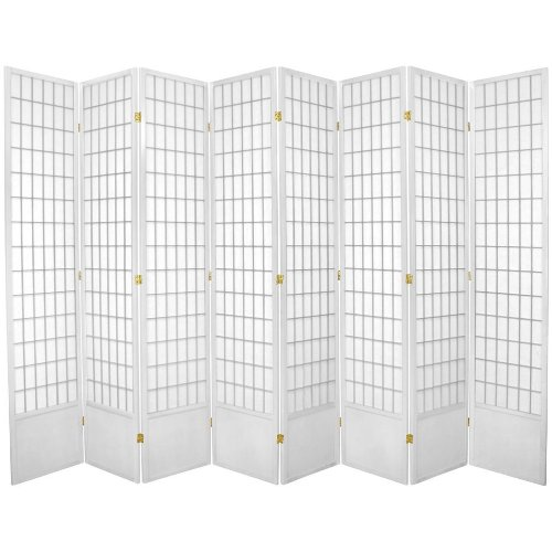 Oriental Furniture Window Pane 7-Feet Tall Shoji Screen -White 8 panel, B