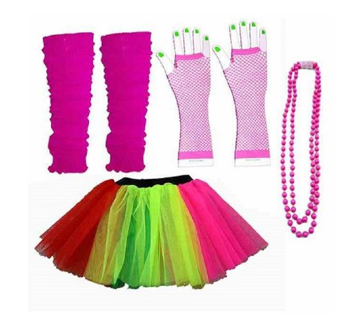 Four Piece Adult Womens 8-14 Multi Colour Rainbow Tutu Set Tutu Legwarmers Fishnet Gloves Beads 80s Fancy Dress