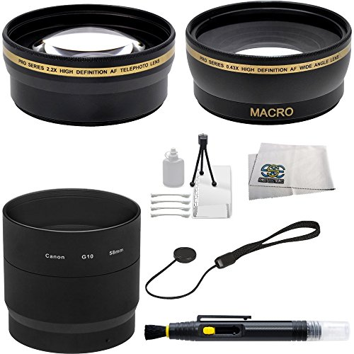 Sse Wide Angle & Telephoto Lens Kit For Canon Powershot G10 G11 G12 Digital Cameras. Includes: 0.45X Super Wide Angle (With Macro) High Definition Lens, 2X Telephoto High Definition Lens, Adapter Tube, Bonus Lens Cap Keeper, Lens Cleaning Pen, Table Top T