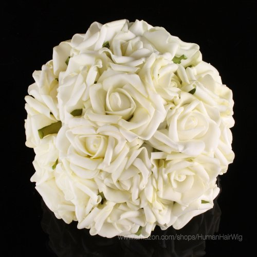 20pcs bridal wedding bouquets artificial flower kc108 cream ivory head latex real touch bling. Black Bedroom Furniture Sets. Home Design Ideas