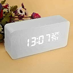 Wood Digital LED Alarm Clock with Time and Temperature Display and Sound Control