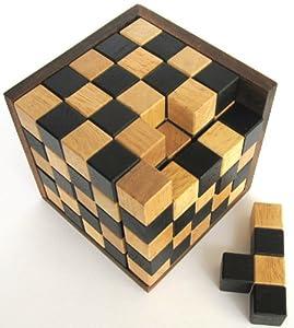 Schach-Würfel 125er Cube XL - 3D Puzzle - Denkspiel - Knobelspiel - Geduldspiel im Holzrahmen