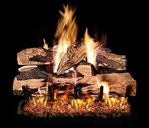 """R.H. Peterson SDPG45-2-24-01P - 24"""" Split Oak Designer Plus Vented Gas Logs with Burner for Liquid Propane Fireplaces."""