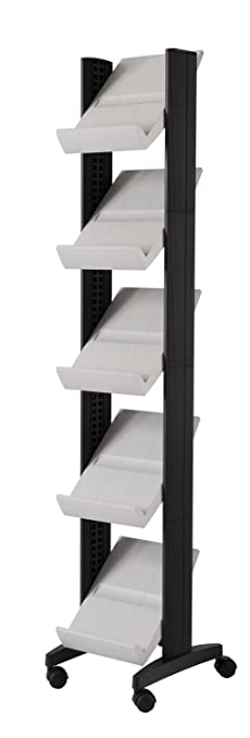 PaperFlow Single Sided Literature Display, Mobile Corner Unit, 5 Shelves, 13.78x15.17x66 Inches, Gray (259N.02)