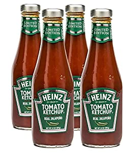 Heinz Tomato Ketchup Blended with Real Jalapeno, 14 Ounce Bottles (Pack of 4)