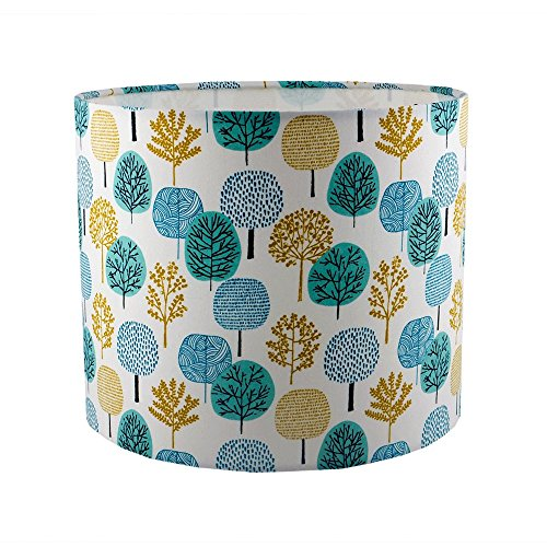 handmade-drum-lampshade-in-mustard-and-teal-tree-fabric