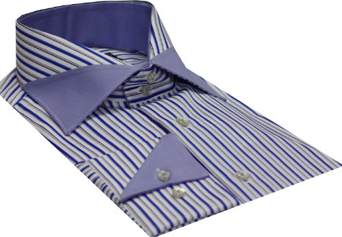 Italian Design Men's Formal Casual Shirts Designed Collar & Cuffs Blue Colour