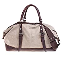 S-ZONE Fashion Canvas Leather Trim Travel Tote Duffel shoulder handbag Weekend Bag