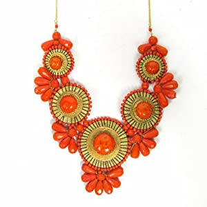 ZAD XX-Large Gold Metal Orange Glass Bead Medallion Necklace